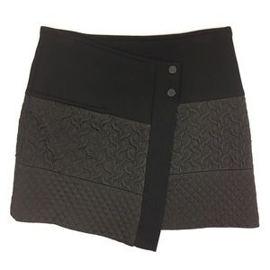 Zara Black Quilted Wrap Mini Skirt XS